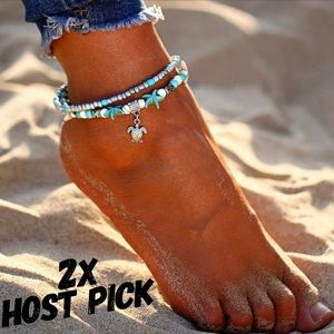 Jewelry - Boho Sea Turtle&Turquoise Starfish Layered Anklet